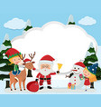 border template with santa and kids vector image
