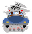 bride and groom on a car just married couple vector image