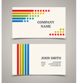 Business card template with color lines and dots vector image vector image