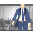 Business man standing in office with newspaper vector image vector image