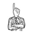 businessman index finger up head sketch engraving vector image vector image