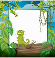 Chameleon and a white board vector image