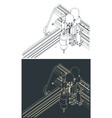 cnc machine for 3d carving isometric drawings vector image vector image