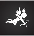 cupid on black background vector image