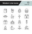 easter icons modern line design set 12 vector image