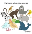 Educational game how many animals do you see vector image