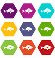fish icon set color hexahedron vector image vector image