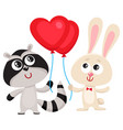 funny rabbit bunny and raccoon holding red heart vector image vector image