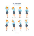 girl in office in various poses doing exercises vector image
