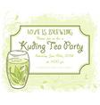 hand drawn kuding tea party invitation card vector image vector image