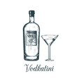 hand sketched vodka bottle and vodkatini glass vector image vector image