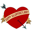 happy valentines day red heart pierced by an vector image vector image