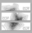horizontal banners with 3d abstract paper vector image