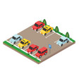 isometric cars in the car parking city parking vector image