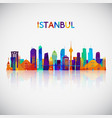 istanbul skyline silhouette in colorful geometric vector image vector image