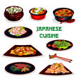 japanese cuisine traditional dinner cartoon icon vector image vector image