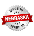 made in Nebraska silver badge with red ribbon vector image vector image