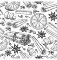 mulled wine ingradients seamless pattern cinnamon vector image