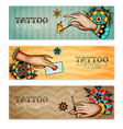 oldschool tattoo hands horizontal banners vector image
