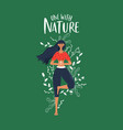one with nature concept woman doing yoga vector image