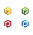 p logo hexagon icon vector image vector image