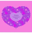 Purple floral heart valentine card vector image vector image