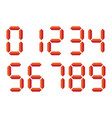 red 3d-like digital numbers seven-segment display vector image vector image