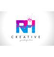 rh r h letter logo with shattered broken blue vector image vector image