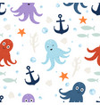 seamless pattern cute octopus vector image