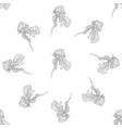 seamless pattern flower ink sketch vector image vector image