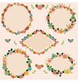 set floral romantic frames floral frames vector image vector image