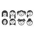 Set of outline woman hair style emoticons vector image vector image