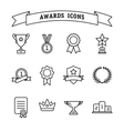 set trophy and awards line icons vector image vector image