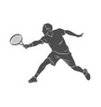 silhouette tennis player with a racket on a white vector image vector image