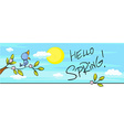 spring design horizontal with blossom and bird vector image vector image