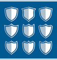 white shield signs and symbols set vector image vector image