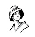 woman face portrait with hat black and white vector image vector image