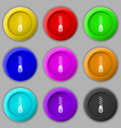 Zipper Icon sign symbol on nine round colourful vector image vector image