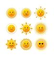 Sun Smile Icon Set vector image