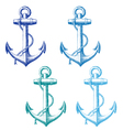 vintage anchor with rope set vector image