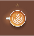3d realistic isolated white cup coffee latte vector image vector image