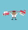 african businessman who is carrying home and car vector image