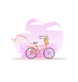 bicycle with basket flowers on spring or summer vector image vector image