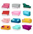 big set modern colorful soft sofas vector image vector image