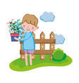 boy lifting houseplant with fence in the landscape vector image