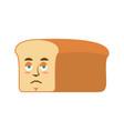 bread sad emoji piece of bread sorrowful emotion vector image vector image