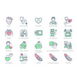 cardiology line icons vector image