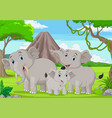 cartoon elephants family in jungle vector image vector image