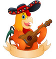 cartoon rooster playing guitar vector image vector image