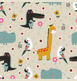 cartoon tropical animal pattern vector image vector image
